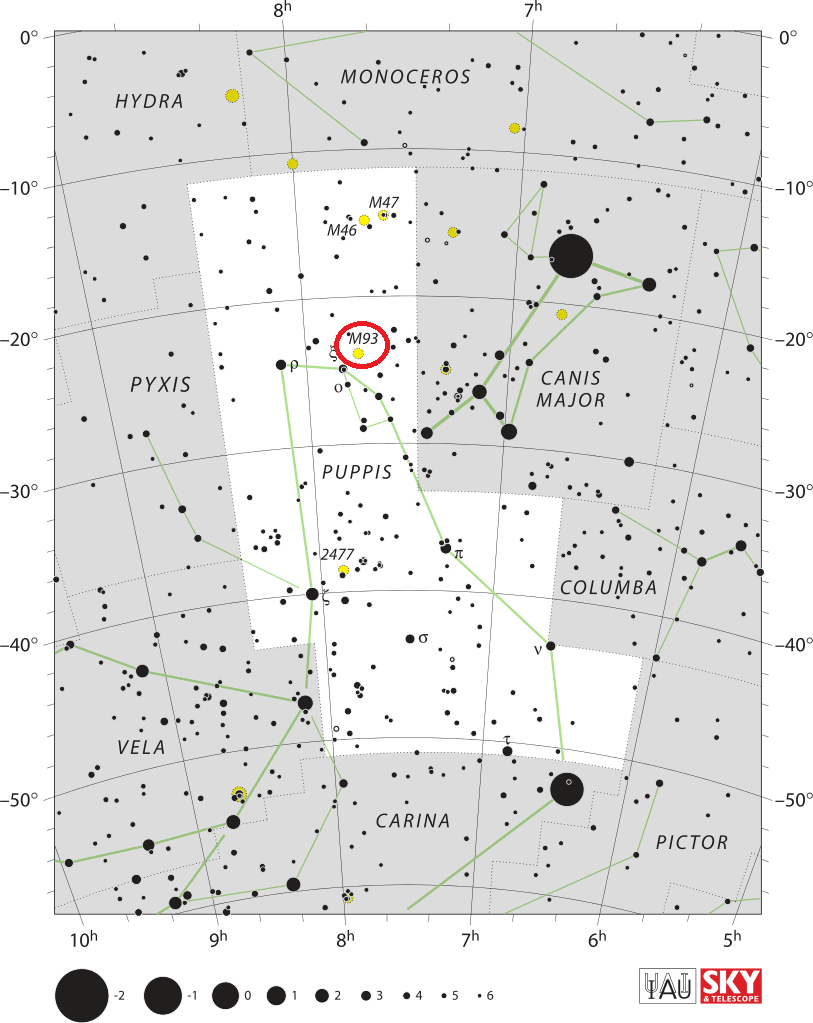 m93 location,where is messier 93,find messier 93