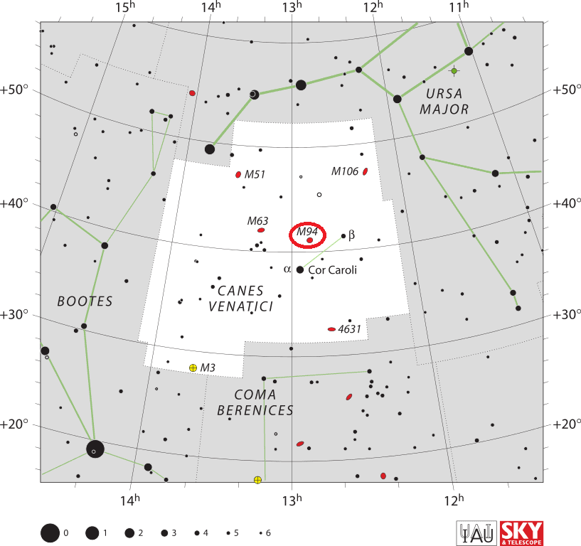 cat's eye galaxy location,find messier 94,where is m94 in the sky