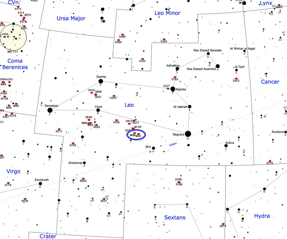 find messier 95,m95 location, where is messier 95