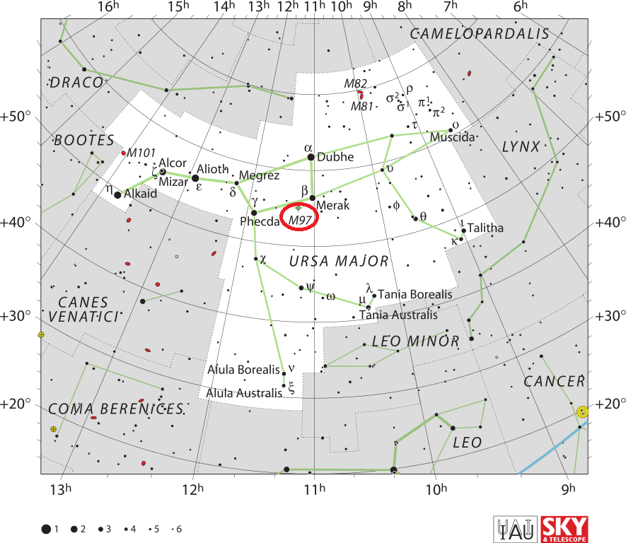 owl nebula location,find owl nebula,m97 location,where is messier 97