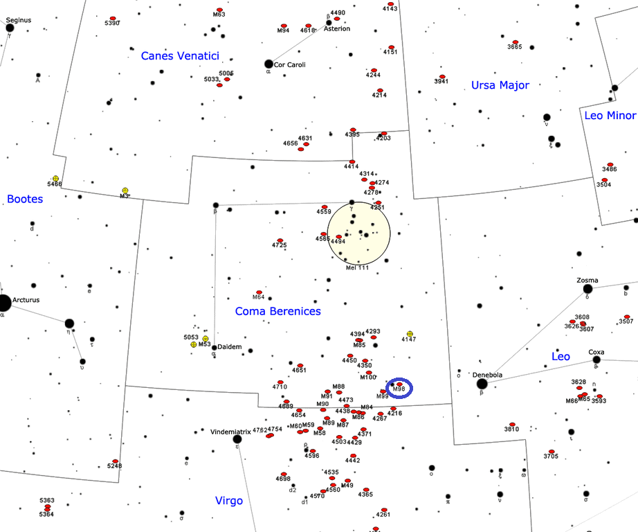 m98 location,where is messier 98,find messier 98