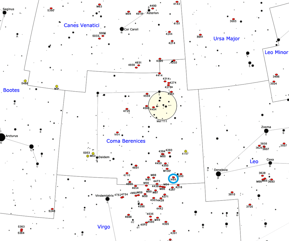 m99 location,coma pinwheel location,virgo cluster pinwheel position,find messier 99,where is m99