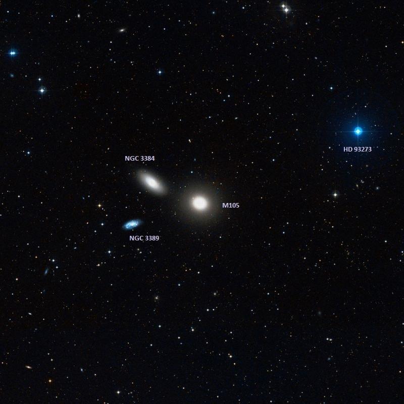 messier 105,m105 elliptical galaxy,ngc 3384,ngc 3389