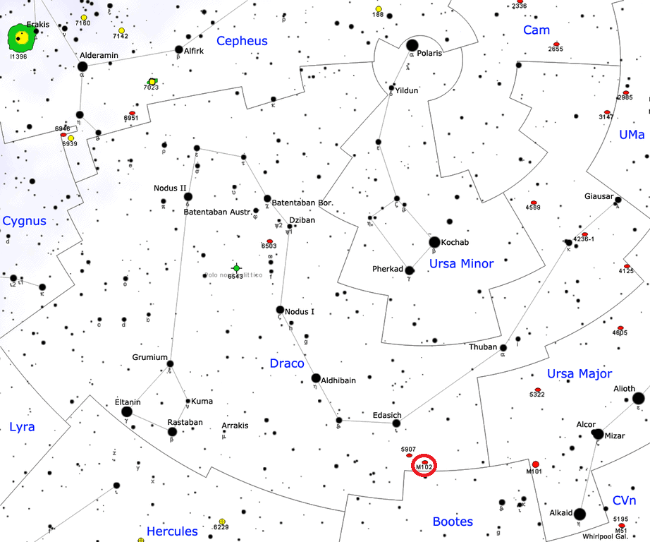 ngc 5866 location,spindle galaxy location,m102 location,find messier 102,were is m102