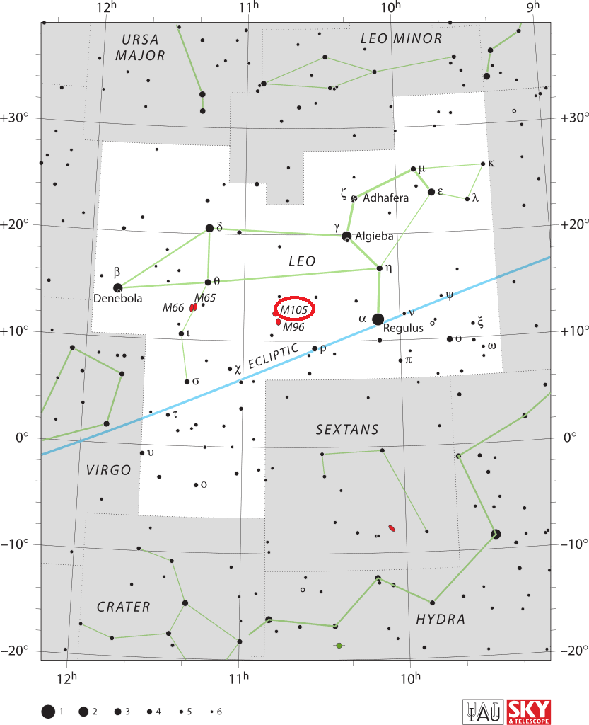 m105 location,where is messier 105,find m105