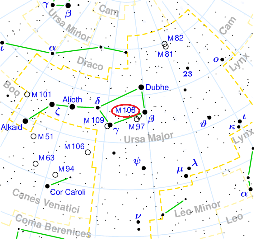 m108 location,find messier 108,where is surfboard galaxy